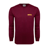 Maroon Long Sleeve T Shirt-Iona Wordmark