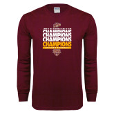 Maroon Long Sleeve T Shirt-MAAC Mens Basketball Champs