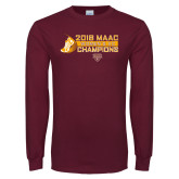 Maroon Long Sleeve T Shirt-2018 Womens XC MAAC Champions