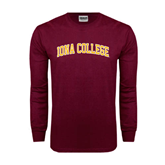 Maroon Long Sleeve T Shirt-Arched Iona College