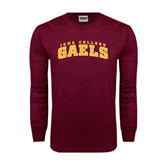 Maroon Long Sleeve T Shirt-Arched Iona College Gaels