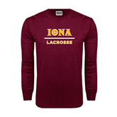 Maroon Long Sleeve T Shirt-Lacrosse