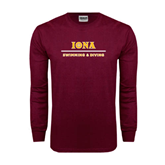 Maroon Long Sleeve T Shirt-Swimming and Diving