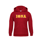 Youth Cardinal Fleece Hoodie-Iona Wordmark