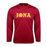 Syntrel Performance Cardinal Longsleeve Shirt-Iona Wordmark