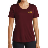 Ladies Performance Maroon Tee-Iona Wordmark