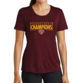 Ladies Performance Maroon Tee-2018 Mens Basketball Champions - Box