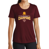 Ladies Performance Maroon Tee-2018 Mens Basketball Champions - Net w/ Basketball