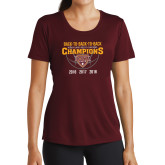 Ladies Performance Maroon Tee-Back To Back To Back Basketball Champions