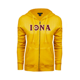 ENZA Ladies Gold Fleece Full Zip Hoodie-Iona Wordmark