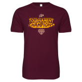 Next Level SoftStyle Maroon T Shirt-2018 Mens Basketball Champions - Brush