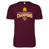 Next Level SoftStyle Maroon T Shirt-2018 Mens Basketball Champions - Net w/ Basketball