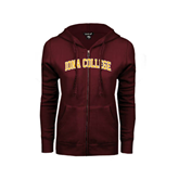 ENZA Ladies Maroon Fleece Full Zip Hoodie-Arched Iona College