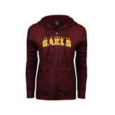ENZA Ladies Maroon Fleece Full Zip Hoodie-Arched Iona College Gaels