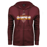 ENZA Ladies Maroon Fleece Full Zip Hoodie-MAAC Mens Basketball Champs