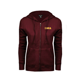 ENZA Ladies Maroon Fleece Full Zip Hoodie-Iona Wordmark