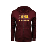 ENZA Ladies Maroon Fleece Full Zip Hoodie-Athletics