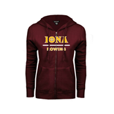 ENZA Ladies Maroon Fleece Full Zip Hoodie-Rowing