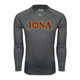 Under Armour Carbon Heather Long Sleeve Tech Tee-Iona Wordmark