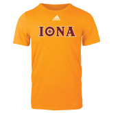 Adidas Gold Logo T Shirt-Iona Wordmark