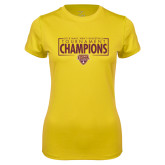 Ladies Syntrel Performance Gold Tee-2018 Mens Basketball Champions - Box