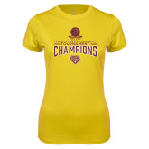 Ladies Syntrel Performance Gold Tee-2018 Mens Basketball Champions - Net w/ Basketball