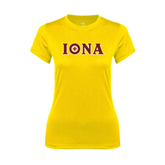 Ladies Syntrel Performance Gold Tee-Iona Wordmark