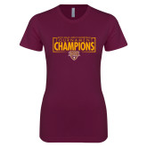 Next Level Ladies SoftStyle Junior Fitted Maroon Tee-2018 Mens Basketball Champions - Box