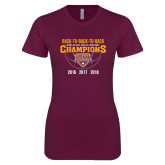 Next Level Ladies SoftStyle Junior Fitted Maroon Tee-Back To Back To Back Basketball Champions