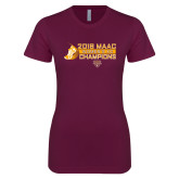 Next Level Ladies SoftStyle Junior Fitted Maroon Tee-2018 Womens XC MAAC Champions