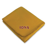 Gold Arctic Fleece Blanket-Iona Wordmark