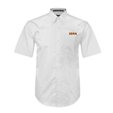 White Twill Button Down Short Sleeve-Iona Wordmark