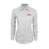 Ladies White Twill Button Down Long Sleeve-Iona Wordmark