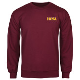 Maroon Fleece Crew-Iona Wordmark