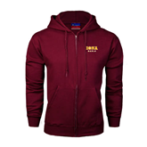 Champion Maroon Fleece Full Zip Hood-Official Logo