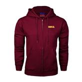 Champion Maroon Fleece Full Zip Hood-Iona Wordmark