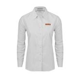 Ladies White Oxford Shirt-Iona Wordmark