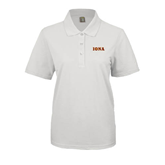 Ladies Easycare White Pique Polo-Iona Wordmark
