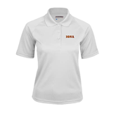 Ladies White Textured Saddle Shoulder Polo-Iona Wordmark