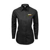 Ladies Black Tonal Pattern Long Sleeve Shirt-Iona Wordmark