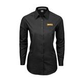 Ladies Black Tonal Pattern Long Sleeve Shirt-Iona Wordmark