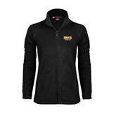 Ladies Fleece Full Zip Black Jacket-Official Logo