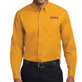 Gold Twill Button Down Long Sleeve-Iona Wordmark