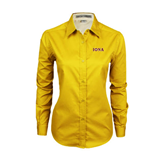 Ladies Gold Twill Button Down Long Sleeve-Iona Wordmark