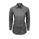 Ladies Grey Tonal Pattern Long Sleeve Shirt-Iona Wordmark