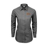 Ladies Grey Tonal Pattern Long Sleeve Shirt-Iona Wordmark