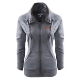 Ladies Sport Wick Stretch Full Zip Charcoal Jacket-Iona Wordmark