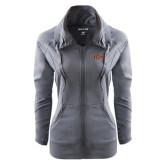 Ladies Sport Wick Stretch Full Zip Charcoal Jacket-Iona Wordmark