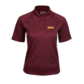 Ladies Maroon Textured Saddle Shoulder Polo-Iona Wordmark