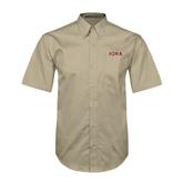 Khaki Twill Button Down Short Sleeve-Iona Wordmark